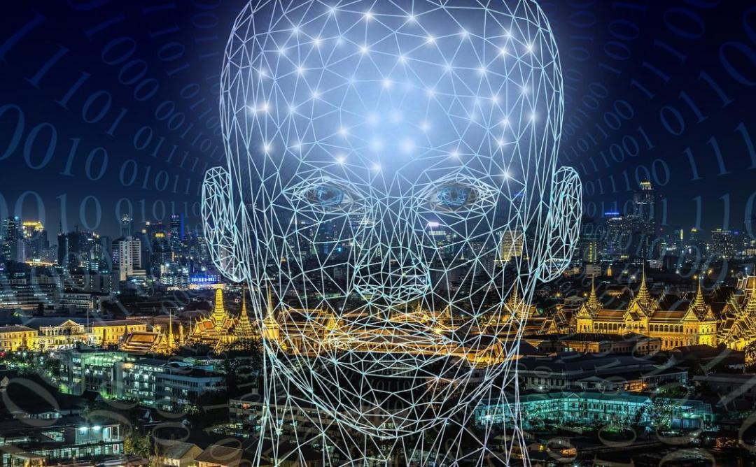 Imatge d'una ciutat am un cap ple de nodes